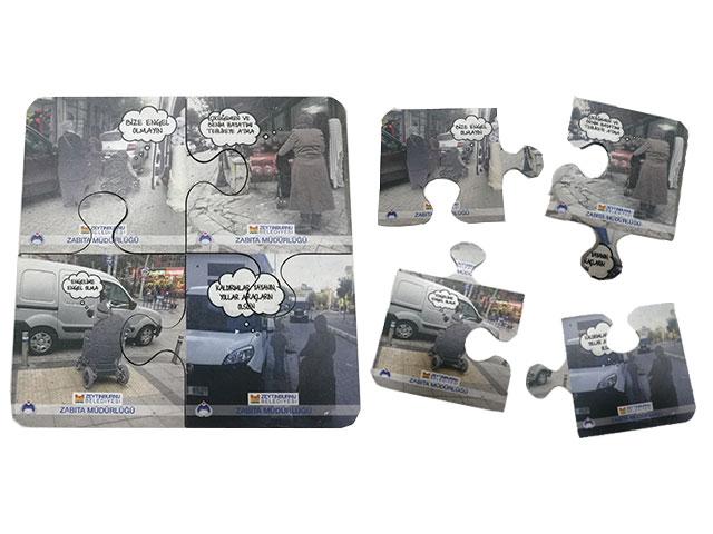 MDF Puzzle Bardak Altlık (4 parça) - BAK 4410